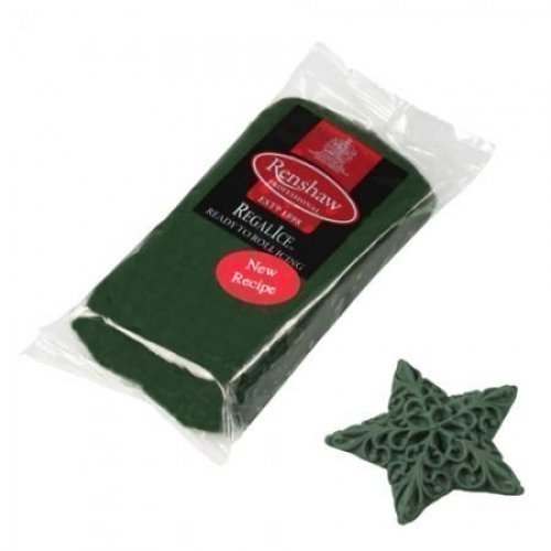 250g Christmas Dark Green Regalice Ready Roll Icing - Cake Covering Sugar Paste