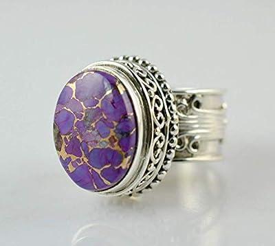 Bague en argent turquoise cuivré violet, bague en pierre précieuse, bague en argent, bague faite main, bague en argent sterling 925, taille 44 à 68 FR