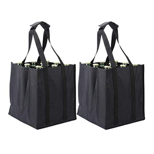 Tebery 2er-Set 24er Bottle-Bag, Flaschentasche für 24 x 1,5 Liter Flaschen, Tragetasche mit Trennwände, 26 x 27 x32.5 cm, schwarz