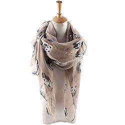 Panda moda damas bufandas mujeres: largo suave cálido impreso bufanda envuelto mantón seda sentir (Brown)