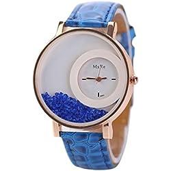 WINWINTOM Leather Quicksand Rhinestone Quartz Bracelet Wrist Watch Blue