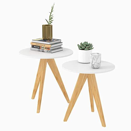 WOLTU® Beistelltisch TS52ws-2 2er Set Couchtisch Kaffeetisch Sofatisch Nachttisch Telefontisch aus Bambus und MDF Weiß 42x42x46cm&48x48x50cm(BxTxH) -