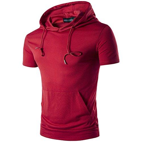 CHENGYANG Herren Sommer T-Shirts mit Kapuze Mode Tasche Einfarbig Kurzarm Bluse Rot