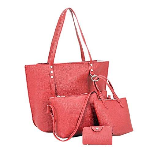 Goosun Damen Handtasche Frauen 4 pcs Kunst Leder Beutel Das Beste Geschenk Für Mädchen Mode 4-Teiliges Set Tasche Leder Schultertasche & Umhängetasche & Handtasche & Kleine Brieftasche (Rot)