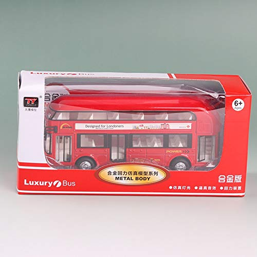AIOJY Alloy Bus Toy Car Sound And Light Car Model Simulation Double-decker Bus Door Opener Adult Toy Back Wheels Can Open The Door Inertia Function Kids' Best New Year Christmas Static Car Gift