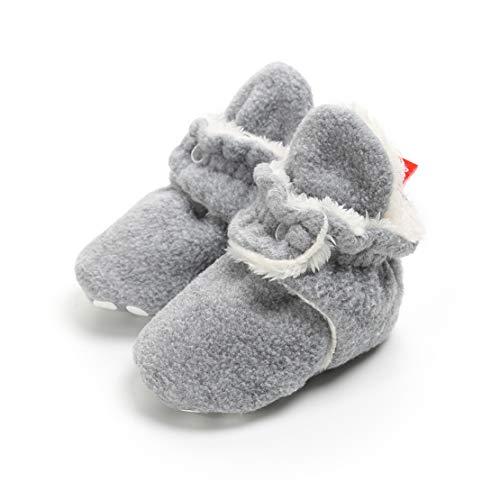 AUPUMI Unisex-Baby Neugeborenes Fleece Booties Bio Baumwoll-Futter und Rutschfeste Greifer Winterschuhe (6-12 Monate, Hellgrau)