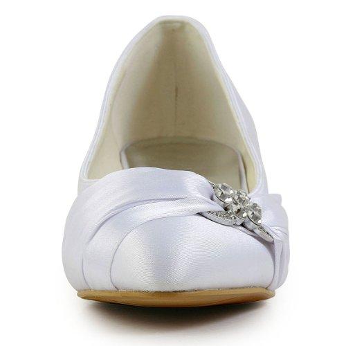 ElegantPark EP2006L Scarpe da sposa tacco basse scarpe chiuse donna Bianco