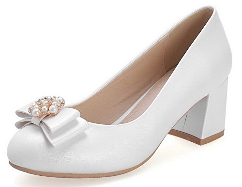 AgooLar Femme Pu Cuir Couleur Unie Tire Rond à Talon Correct Chaussures Légeres Blanc