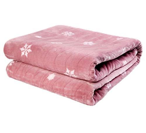 Authda Kuschelheizdecke Wärmeunterbett Abschaltautomatik Wasserdicht Flauschig Wärmedecke Heizdecken fürs Bett Timer Doppelbett Fernbedienung (180X80cm, Pink)