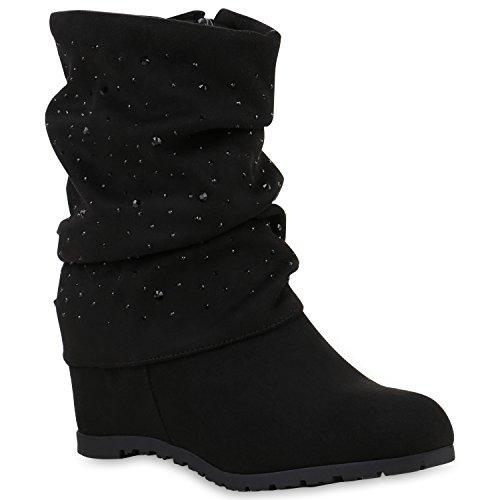 Damen Keilstiefeletten Strass Stiefeletten Schuhe 121383 Schwarz 38 Flandell