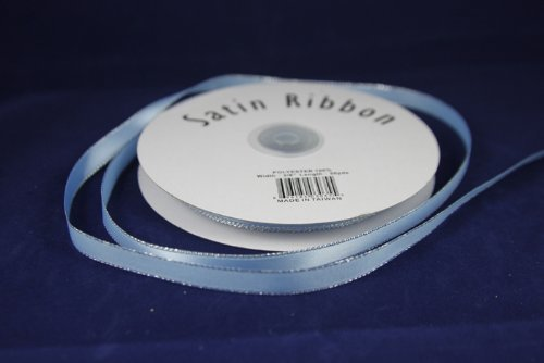 Baby Blue 3/8 Satin Ribbon w/ Silver Edges (50 Yds) by Made in Taiwan
