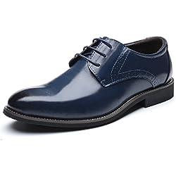 Zapatos Oxford Hombre, Brogue Cuero Boda Negocios Calzado Vestir Cordones Derby Negro Marron Azul Rojo Amarillo 37-48EU BL42