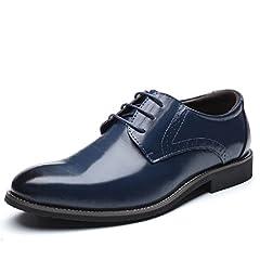 Idea Regalo - Scarpe Uomo Pelle, Brogue Stringate Derby Basse Oxford Vintage Verniciata Elegante Sera Nero Marrone Blu Rosso 37-48EU BL37