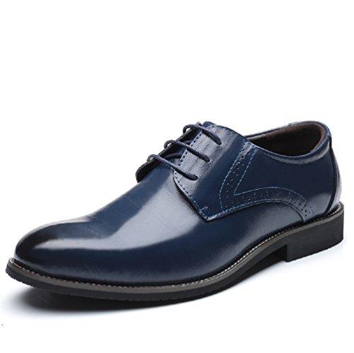 Scarpe uomo pelle, brogue stringate derby basse oxford vintage verniciata elegante sera nero marrone blu rosso 37-48eu bl48