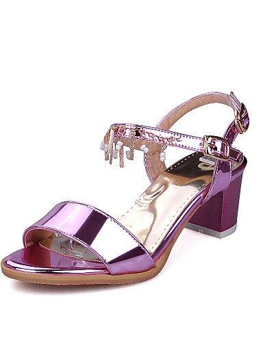 UWSZZ IL Sandali eleganti comfort Scarpe Donna-Sandali-Formale-Aperta-Quadrato-Finta pelle-Viola / Argento / Dorato golden