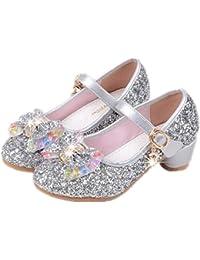 YOGLY Babies Fille Chaussure à Talon Enfant Ballerine Princesse avec  Paillettes Noeud Papillon Chausson Maryjane b548299b449