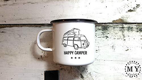 Alicert5II Happy Camper Geschenk Camp Becher Emaille Becher Camping Cup Handarbeit Graviert Customized Personalisierte Camping Becher - Camper Happy Becher
