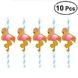 Paglie di carta partito hawaiano Tinksky decorativo cannucce Luau Party Decorazioni per la tavola barbecue hawaiano tema decorazione Flamingo 10 pezzi (blu)