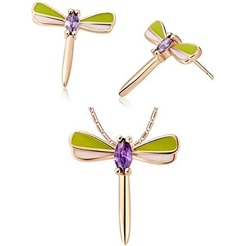 Vmculb Mujer Juegos de Joyas Chapado en Oro Compromiso Boda Collar y Pendientes de Mujer Colgante Libélula Violeta Cristal Austriaco 2 Piezas