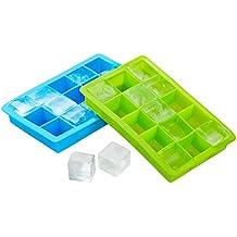 Juego de 2 cubiteras, Uten bandejas para hielo silicona, 15 cavidades, color azul y verde