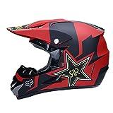 WZFC Casco Motocross Eduro Homologado Casco De Moto Cross Integral para Mujer Hombre Adultos (Modelo-Fox-7),Red,M