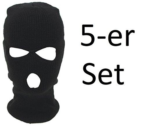 5er SET - Sturmhaube Sturmmaske Motorrad Fahrrad Paintball Gesichtsmaske - 3-Loch Variante - Acryl - Schwarz (5-er Set 3 Loch Maske)