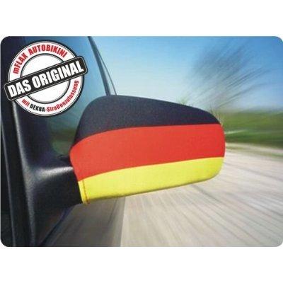 Fussball EM 2016 - MFLAX Außenspiegel Flagge für PKW - Deutschland / Germany - Fahne Gr. M (inkl. 8 Befestigungs-Clips, Dekra geprüft)