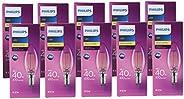 Philips CLA LED Candle, 40 Watt, B35 E14 827 CL, 10 Pieces