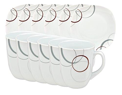 Frühstücksset Palazzo 12tlg. - 6 Teller á 19cm und 6 Becher á 33cl aus weißem Porzellan mit...
