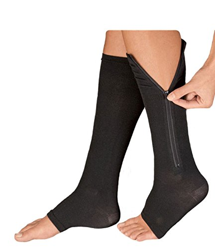 df281b7058 Kingbridal Compression Socks Open Toe Leg Support Stocking Knee High with  Zipper for Men Women Best