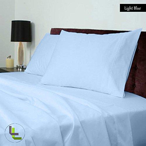 1000TC Elegante Finitura 100% cotone egiziano 4pezzi set di fogli solido (tasca dimensioni: 11inches), Cotone, Light Blue Solid, EU_Single