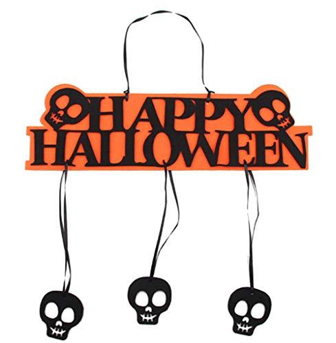 (EROSPA® - Tür-Schild Happy Halloween Tür-Anhänger Fensterschild Totenkopf Dekoration Wanddeko Party Türdeko Hängeschild schwarz orange)