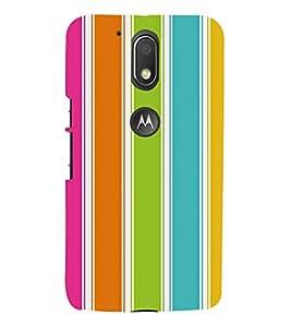 BRIGHT COLOURED STRIPED DESIGN 3D Hard Polycarbonate Designer Back Case Cover for Motorola Moto G4 Play