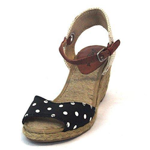 Lucky Brand-Sandali a punta aperta con cinturino alla caviglia, misura 9 Nero (Black-White-Natural-Brick)