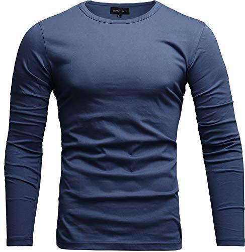Crone Essential Basic Herren Slim Fit Langarm Rundhals Shirt Longsleeve T-Shirt Sweatshirt in vielen Farben (S, Blau)