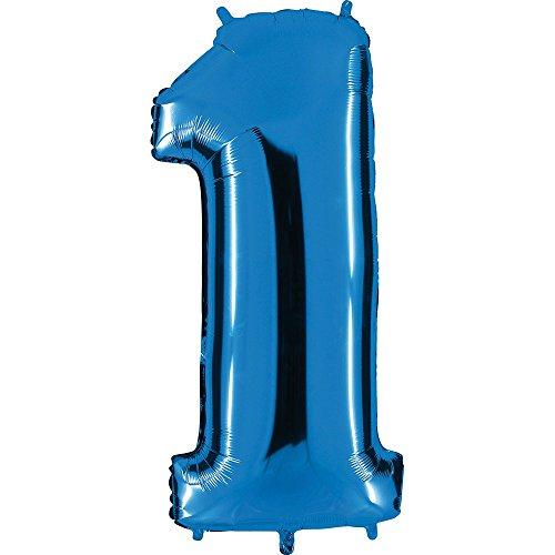 Ballon Zahl 1 in Blau - XXL Riesenzahl 100cm - für Geburtstag Jubiläum & Co - Party Geschenk Dekoration Folienballon Luftballon Happy Birthday (1-ballon Zahl)