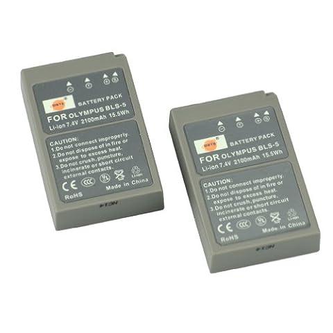 DSTE 2pcs BLS-5 Rechargeable Li-ion Battery for Olympus PS-BLS5, OM-D E-M10, PEN E-PL2, E-PL5, E-PL6, E-PM2, Stylus 1 Digital Cameras