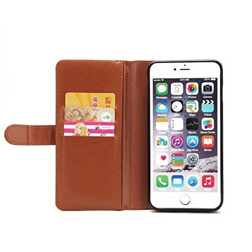 Große Menge Solid Color Leder Tasche Tasche mit Reißverschluss Sicherheit mit abnehmbarem Rücken Abdeckung für iPhone 6 Plus & 6s Plus ( Color : Rose ) Brown