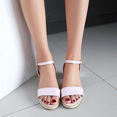 LvYuan Da donna Sandali Finta pelle PU (Poliuretano) Estate Autunno Footing Fibbia Quadrato Bianco Blu Rosa 5 - 7 cm White