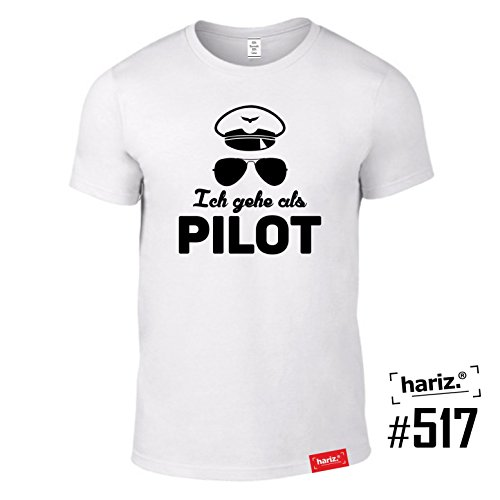 #KARNEVAL: Original HARIZ® Collection T-Shirt // 36 Designs wählbar // Weiss, S-XXL // Fasching I Halloween I Altweiberfastnacht I Verkleidung #Karneval517: Ich gehe als Pilot - Original-halloween-kostüm-themen