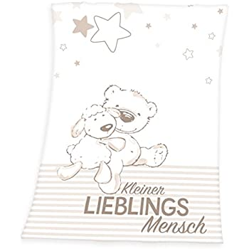 Herding Fynn Babydecke Microfaserflausch Lieblingsmensch Motiv 75 x 100 cm W