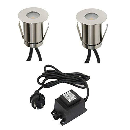 VBLED® Boden-Einbaustrahler 0,3W Mini LED, warm-weiß, IP67 wassergeschützt, aus robustem Edelstahl (befahrbar) inkl. Netzteil und Kabel, Terrassen-Einbauspots (2er-Set)