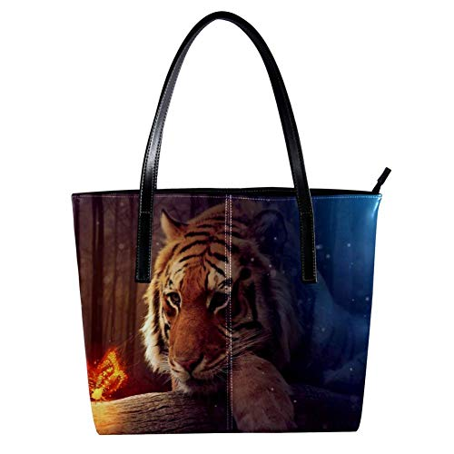 Women's Bag Shoulder Tote handbag with Lion And Firing Butterfly print Zipper Purse PU Leather Top-handle Zip Bags -