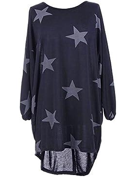 Mujeres Suelto Camiseta Vestido Estrella Demasiado Grande Túnica Blusa Casual Suéter Mujeres Ronda Cuello 3/4...