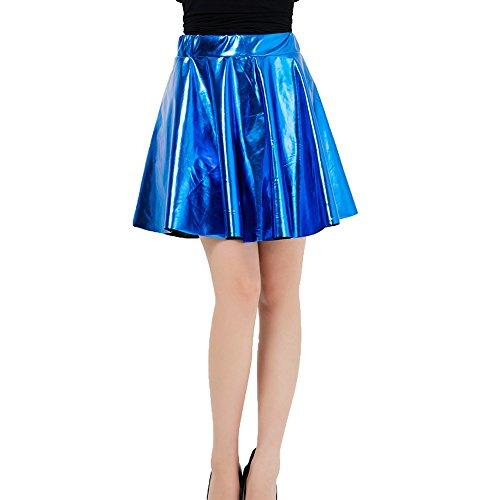 Juleya Frauen Röcke Shiny Metallic Dancewear Hohe Taille Kurze Mini Faltenrock Blau M