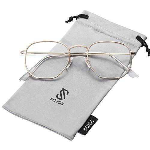 SOJOS Mode Polygon Sonnenbrille Damen Herren Verspiegelte Polarisiert Linse Leichte Unisex Brille SJ1072 (C10 Gold Rahmen/Klare Linse)