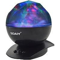 SOAIY® Luce Proiettore Aurora Boreale LED Proiettore Atmosfera Effetti Multicolore per Bambini ed Adulti LED Sfera Magic Luce per Festa Decorativa ( Nero)