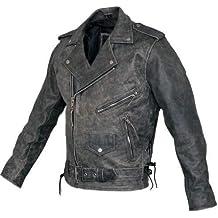 811ed4bcaa509 Australian Bikers Gear Motocicleta Vintage Retro Envejecido Funda de Cuero  Harley Chaqueta CE Armour (Med