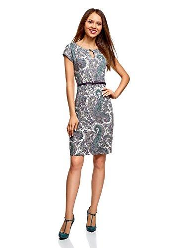 oodji Collection Damen Jersey-Kleid mit Gürtel, Weiß, DE 42 / EU 44 / XL