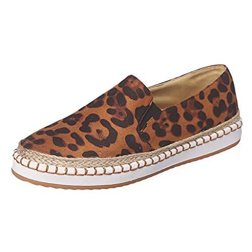 Zilosconcy Damenmode lässig Leopard Slip On flach mit Plattform Loafers Tuch Schuhe Fashion Espadrilles Leicht Bootsschuhe Ballerinas Schlüpfen Arbeitsschuhe Flache Freizeitschuh Trekking - Slouchy Boot-plattform